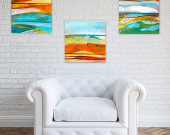 Original Abstract Triptych, Square Paintings, Abstract Landscape, turquoise white yellow orange sepia - Meditations on Earth and Time