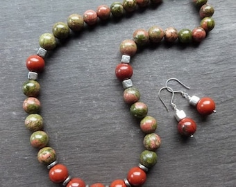 Necklace and earring set with unakite, red jasper and sterling silver - autumnal colours - sterling silver earwires and clasp -UK