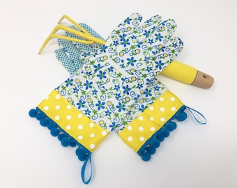 Gardening Gloves for Women. Spring Floral Pattern, Yellow Polka Dots and Blue Pom Poms. Gardener Present. Garden Gift Under 30 for Her.