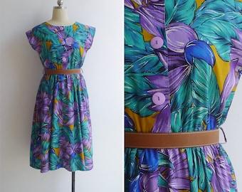 Vintage 80's 'Tropicana' Cotton Button Front Dress S or M
