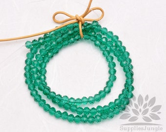 CB100-GR// 4mm Faceted Crystal Rondelle Bead, 1 strand