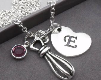 Whisk necklace with heart initial | whisk jewellery | baker's necklace | baker's gift | personalised baking jewellery