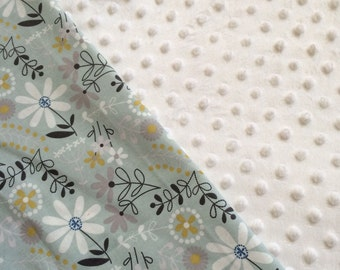 Baby Car Seat Canopy COVER or NURSING Cover: Flowers on Light Blue with White Minky, Personalization Available