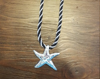 Black & Silver Kumihimo Necklace with Silver Star