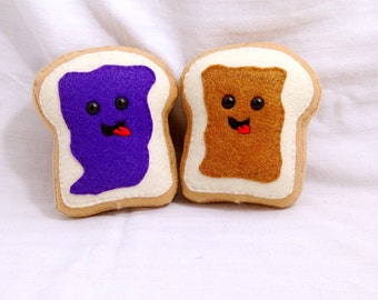 Kawaii Peanut butter and Jelly Toast Plush set