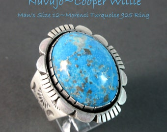 Navajo~COOPER WILLIE~High Domed~Morenci Turquoise~Traditional~MAN's 925 Ring~Size 12
