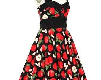 Apple Dress Summer Dress Fruit Dress Pinup Dress Sun Dress Holiday Dress Party Dress Plus Size Dress Halter Dress Swing Dress Tea Dress