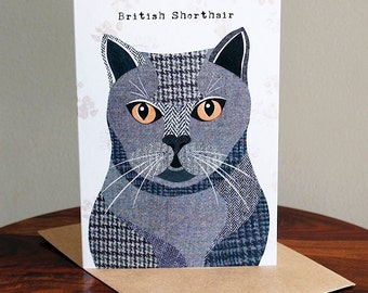 British Shorthair Cat Greetings Card