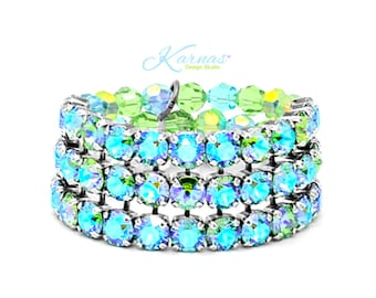 GREEN With ENVY KDS™ Exclusive 8mm Crystal Statement 3 Row Stretch Bracelet *Antique Silver *Karnas Design Studio™ *Free Shipping*
