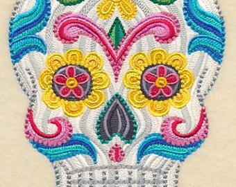 DELICATE SUGAR SKULL Premium Colorful Machine Embroidered Quilt Square, Art Panel
