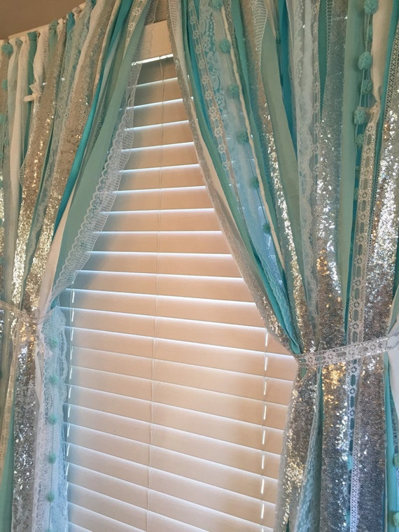 Frozen inspired Sparkle Sequin Garland Curtain with Lace