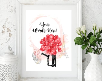 Your Words Here, Custom Quote Print, Valentines Print, Custom Art Print, Personalized Poster, Custom Print, Wall Art, Printable Poster