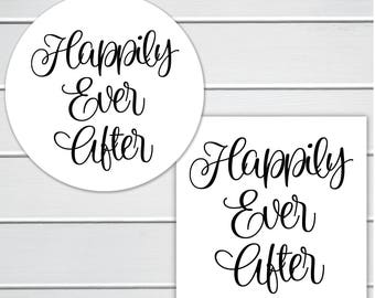 Happily Ever After Wedding Stickers, Wedding Favor Stickers, Envelope Seals  (#209)