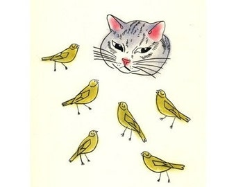 Cat Art - The Cat and the Canaries  4 for 3 SALE -  4 X 6 print