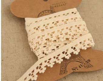 5 Yards Cotton Fabric Cloth -DIY Cloth Art Manual Cloth -Cotton Lace Embroidery 1.3CM Wide
