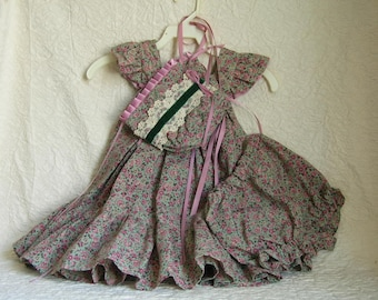 Toddler Dress And Bonnet - Calico - Pinnafore - Vintage - Handmade