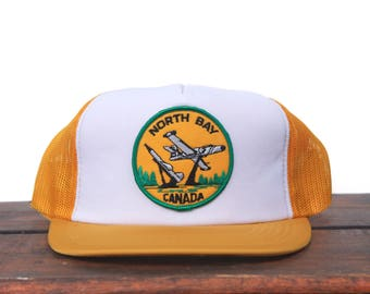 Trucker Hat Vintage Snapback Hat Baseball Cap North Bay Canada Air Force Base Planes Patch