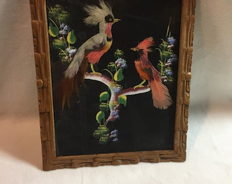 Mexican Feathercraft Framed Picture - Two Red Multicolor Birds (#025)