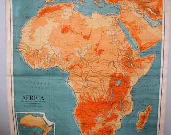 Vintage School Wall Map - Africa (1964)
