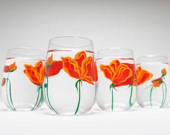 Orange Poppies Wine Glasses - Stemless Wine Glasses for Mom - Mothers Day Gift - Set of 6 Poppy Glasses, Poppy Glassware, Poppy Wine Glasses