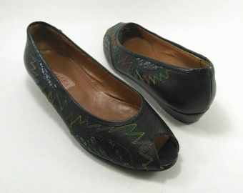Peep toe flats, blue midnight flat shoes, embroidered flat shoes, vintage flat shoes