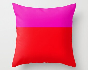 Pink and Red Throw Pillow Cover, Neon Pillow Cover, Colorblock Pillow Cover, Decorative Pillow Cover, Dorm Room DecorChristmas Gift