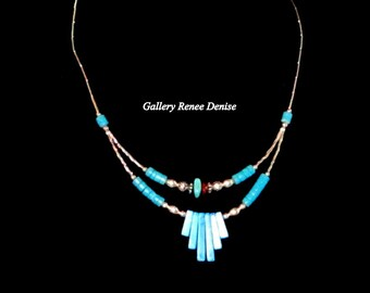 Silver Southwestern Necklace Faux Turquoise Silver Bead Cowgirl Necklace SWN146