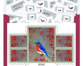 Bluebird of Hope, greeting card