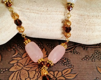 Rose Quartz and Chocolate Brown Swarovski Necklace, Pink and Brown Jewelry