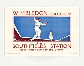 Wimbledon Tennis Advertising Poster Print - Vintage Wimbledon Tennis Poster Art