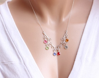 Mothers Necklace, Family Birthstones, MOTHERS Day Gift, Grandmother Mother jewelry. MonyArt Original design.
