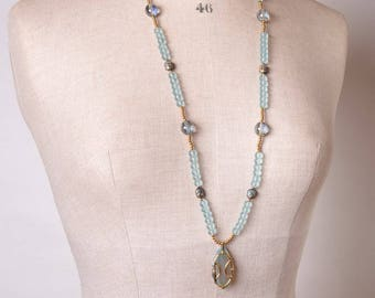Czech Glass, Beach Glass and Hematite necklace with Agate Pendant