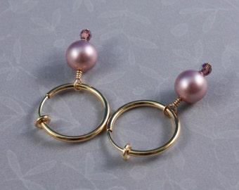 Clip on hoop earrings, Swarovski Powder Rose and Amethyst AB