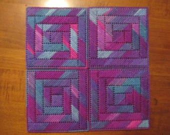 Plastic Canvas Coaster Set w/ 4 coasters - Purple Blue Variegated