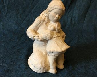 Vintage Signed Austin Sculpture Bright Eyes 1989, Little Girls Hugging Sculpture