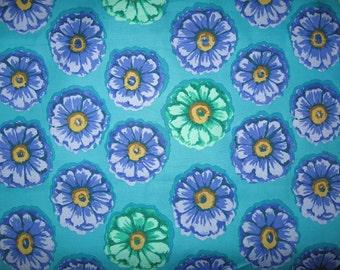 Westminster Fibers Purple Green Flowers on teal 1 yard