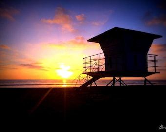 Wall Art Canvas Decor California Ocean Beach Sunset