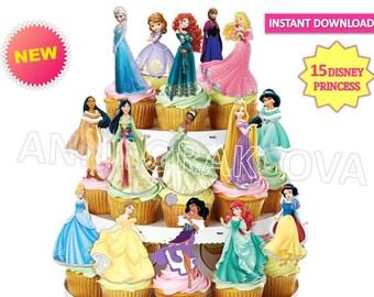 Princess Cupcake Toppers, Cinderella, Belle, Aurora, Elsa, Anna, Snow White, Jasmine, Tiana, Rapunzel, Ariel, Princess disney Party
