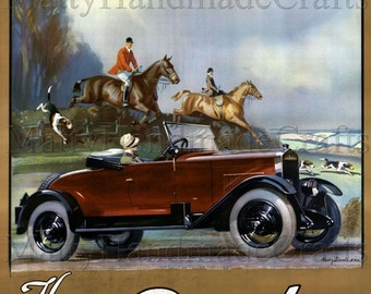 Rhode Car, Car and Horses, 1930s Art Deco Print
