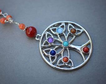 Tree of Life Necklace, Jade Necklace, Long Necklace, Beaded Necklace, Orange, Red Necklace, Blue, Purple Necklace