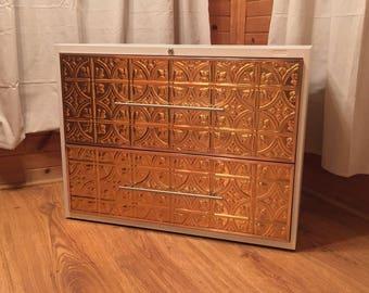 Custom Copper & Matte Cream 2 Drawer Lateral File Cabinet / Chic File Storage Cabinet / Office Furniture Storage / Metal Filing Cabinet