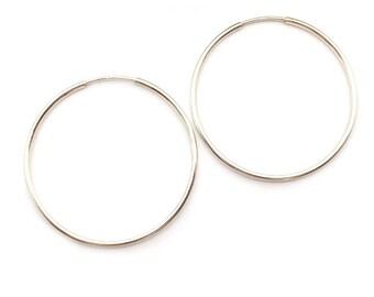 Silver Hoop Earrings, Silver Hoops, Silver Ear Hoops, Everyday Earrings, Simple Earrings, Minimalist Earrings, Gift Under 40, Gift for Her