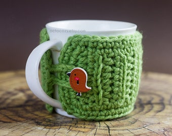 Bird Button Crochet Mug Cozy, Crochet Mug Cozy, Mug Cosy (more colours available)