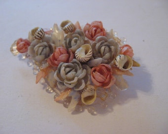 Vintage Delicate Celluloid Handcrafted Sea Shell Spiralkeet Brooch Pink Blue Romantic Style Wedding Victorian