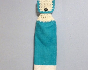 Hanging Kitchen Towel Aqua and White Button Top