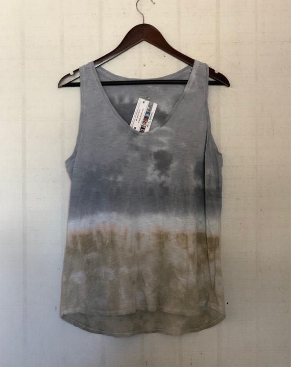 Ombré Dyed Tank Top/Hand Dyed Womens Top/Silver & Ecru/Eco Friendly Dying