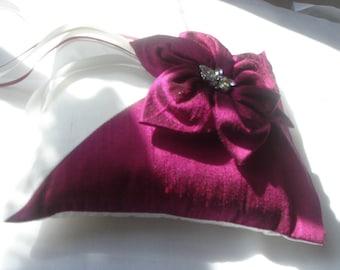 Agnes magenta dupioni silk ring bearer pillow with handmade flower
