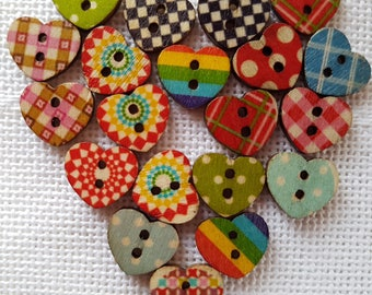 12 buttons 2 holes, heart, wood, fantasy, 15 / 13mm