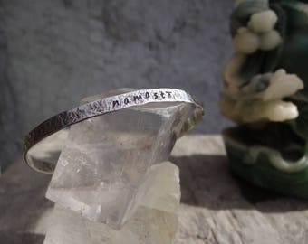 Namaste Hand Hammered and Stamped Ster;ing Silver Cuff Bracelet