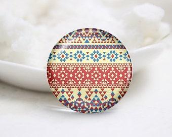 Handmade Round Geometrical Photo Glass Cabochons (P3483)